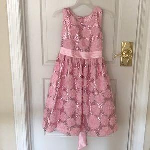 American princess pink sequin rose dress